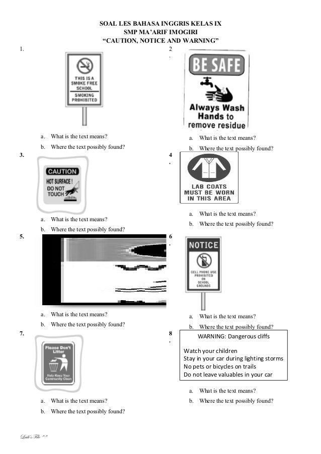 Soal Latihan Bahasa Inggris Notice