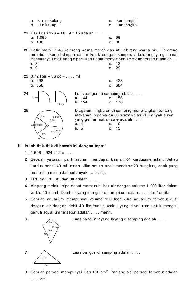 Soal Us Dan Kunci Jawaban Bahasa Inggris Kelas 6 Sd 25 Ide Terbaik Matematika Kelas 5 Di