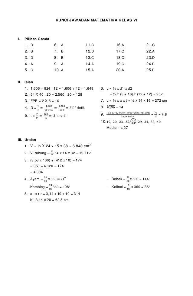 Soal matematika kls 6 uas ganjil 2013 2014 ok