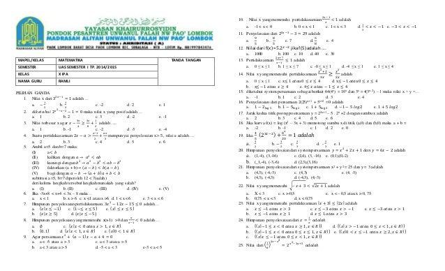 Soal Matematika X Ipa