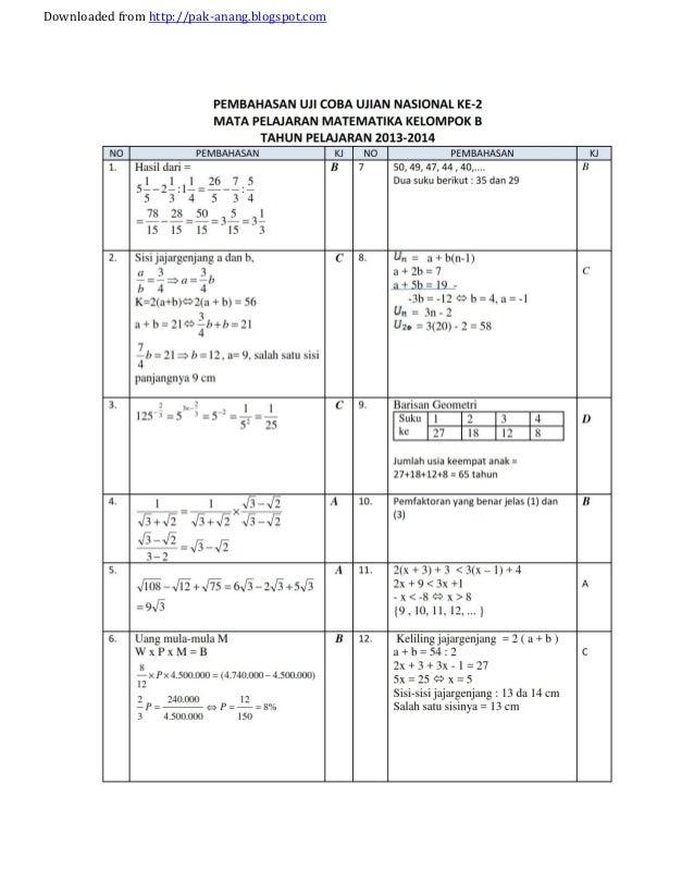 Bocoran Soal Un Smp 5 Soal Prediksi Dan Bocoran Un Matematika Smp 2014 Kunci Jawaban Naskah