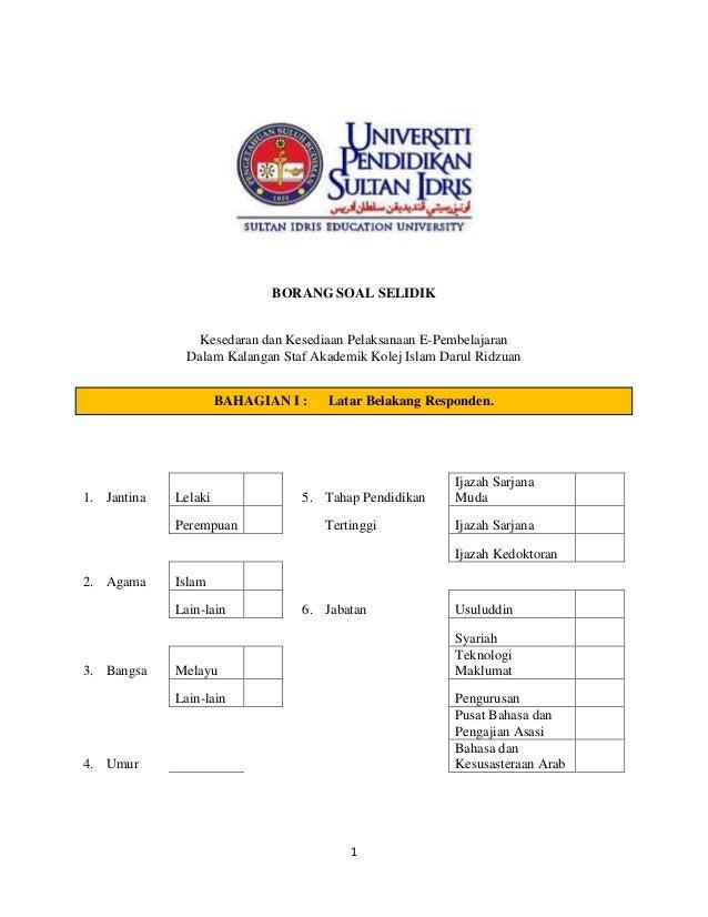 BORANG SOAL SELIDIK                 Kesedaran dan Kesediaan Pelaksanaan E-Pembelajaran               Dalam Kalangan Staf A...