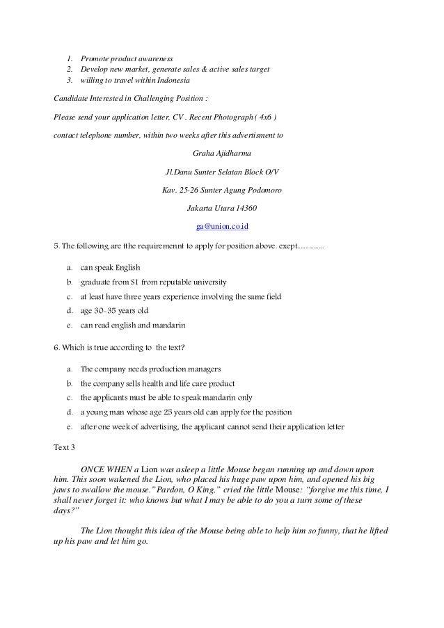 Application Letter Soal on
