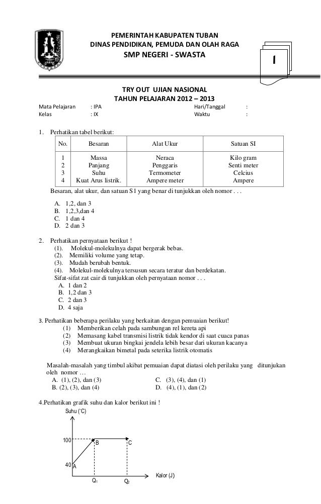 Soal tryout ipa smp tipe 1