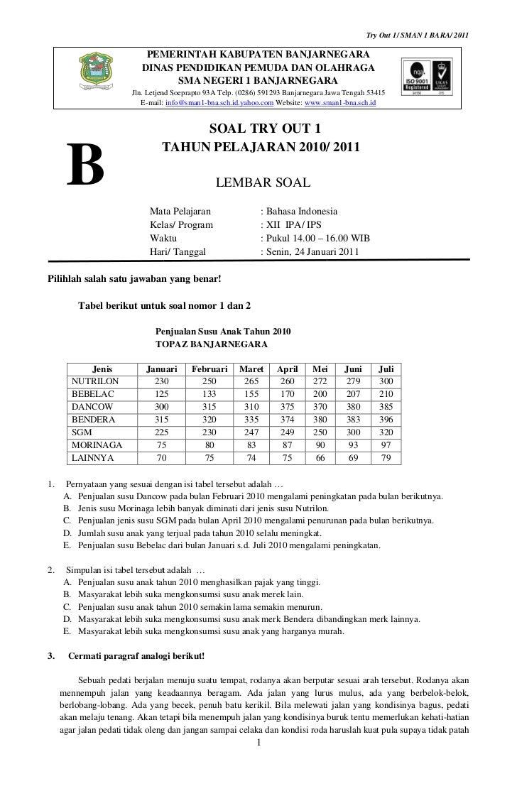 Try Out 1/ SMAN 1 BARA/ 2011                            PEMERINTAH KABUPATEN BANJARNEGARA                           DINAS ...