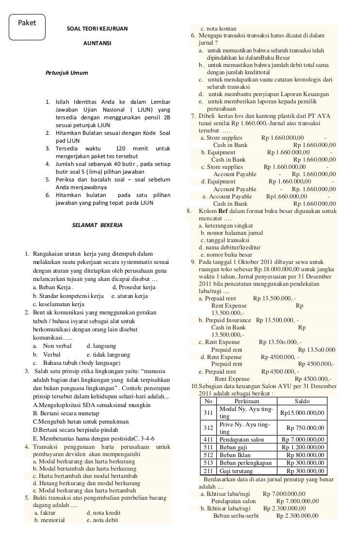 Soal Teori Kejuruan Akuntansi Smk Tahun 2012