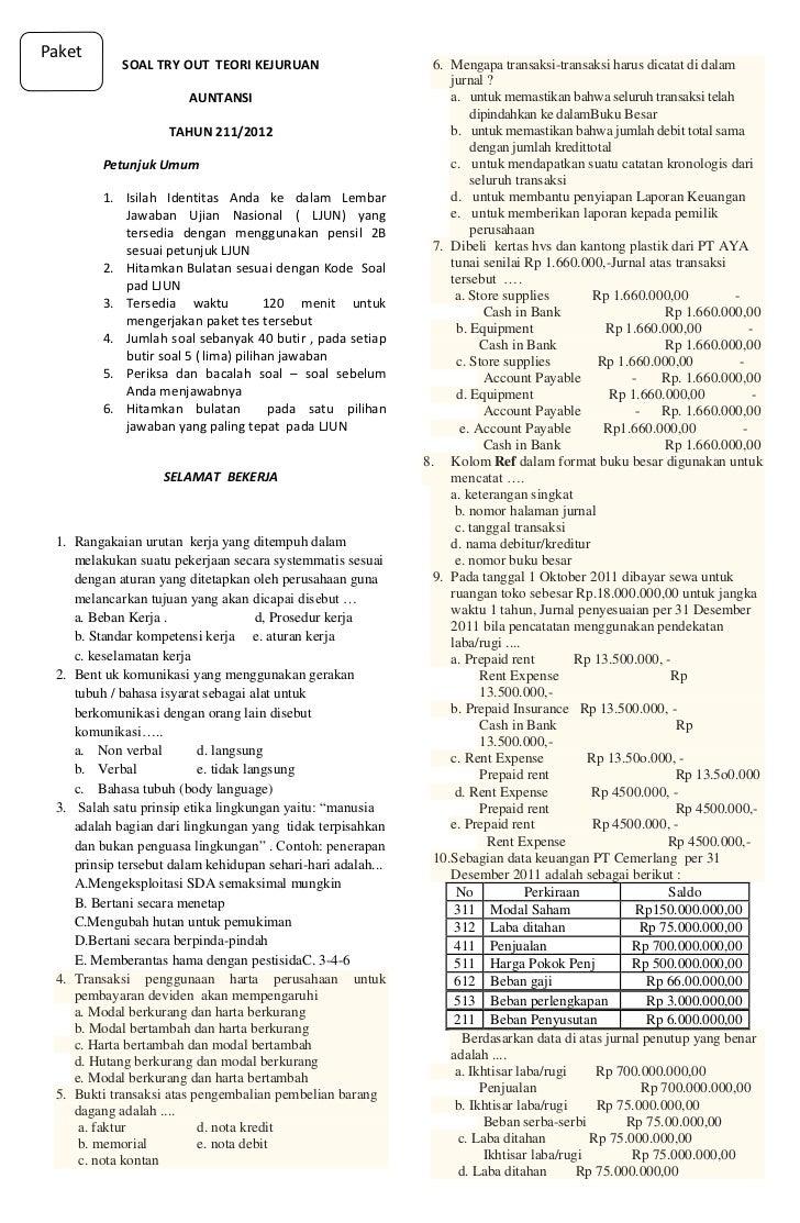 Soal try out teori kejuruan akuntansi 2012 2