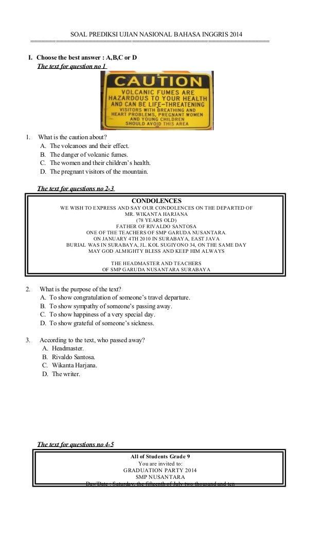 SOAL PREDIKSI UN BAHASA INGGRIS 2014