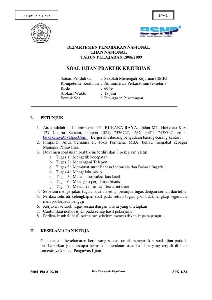 Soal Ujian Nasional Produktif Ad Perkantoran Thn 2009