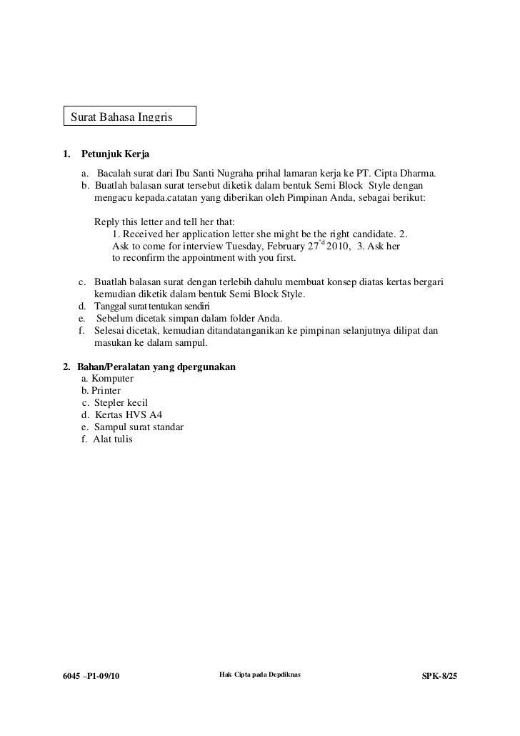 Belajar Contoh Surat Lamaran Semi Block Style Contoh Surat