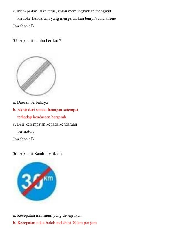 Kumpulan Soal Ujian Teori Sim C Plus Kunci Jawaban Januari 2017 Unik6