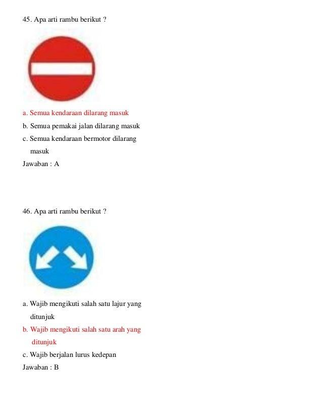 Kumpulan Soal Ujian Teori Sim C Plus Kunci Jawaban Maret