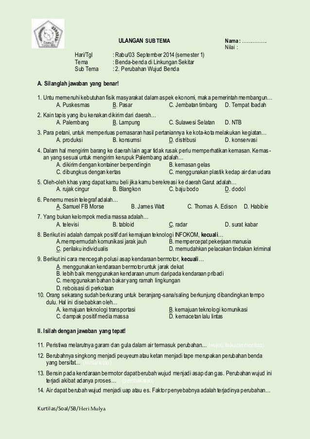 Soal Ulangan Sem 1 Kelas 5 Sd
