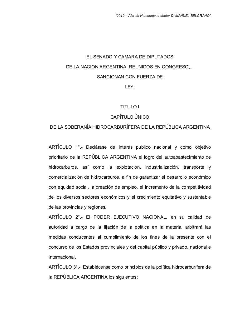 """""""2012 – Año de Homenaje al doctor D. MANUEL BELGRANO""""                  EL SENADO Y CAMARA DE DIPUTADOS        DE LA NACION..."""