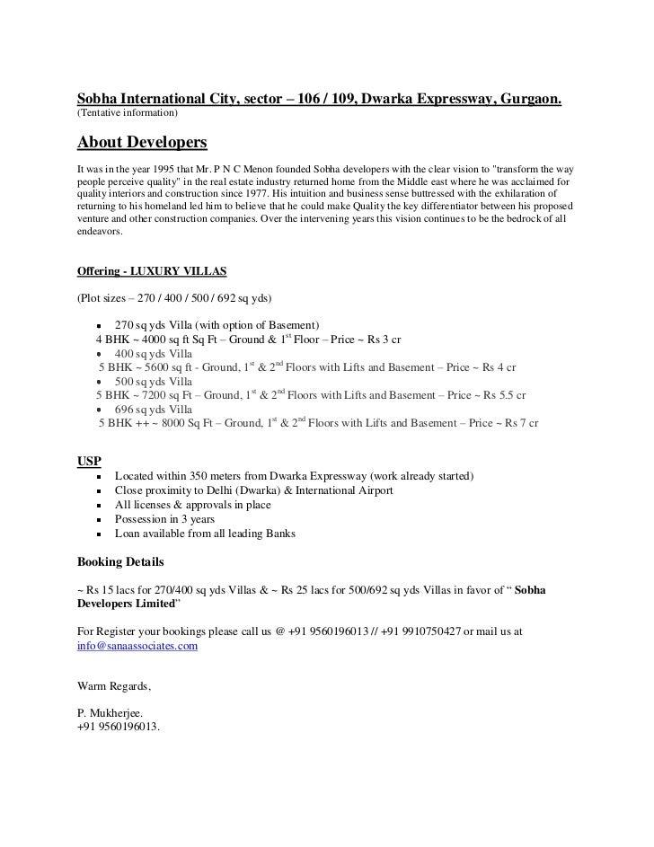 Sobha International City, sector – 106 / 109, Dwarka Expressway, Gurgaon. <br />(Tentative information)<br />About Develop...