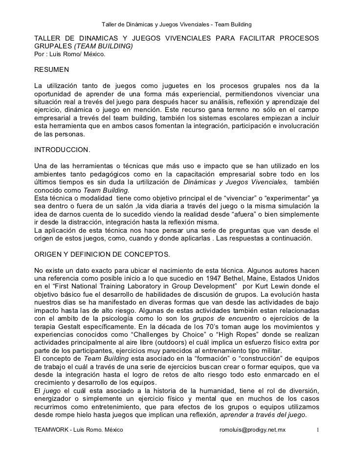 Taller de Dinámicas y Juegos Vivenciales - Team BuildingTALLER DE DINAMICAS Y JUEGOS VIVENCIALES PARA FACILITAR PROCESOSGR...