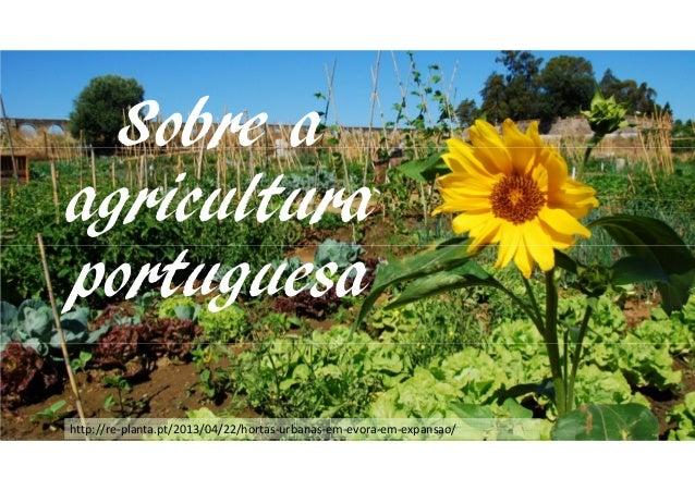Sobre a agricultura portuguesa http://re-planta.pt/2013/04/22/hortas-urbanas-em-evora-em-expansao/