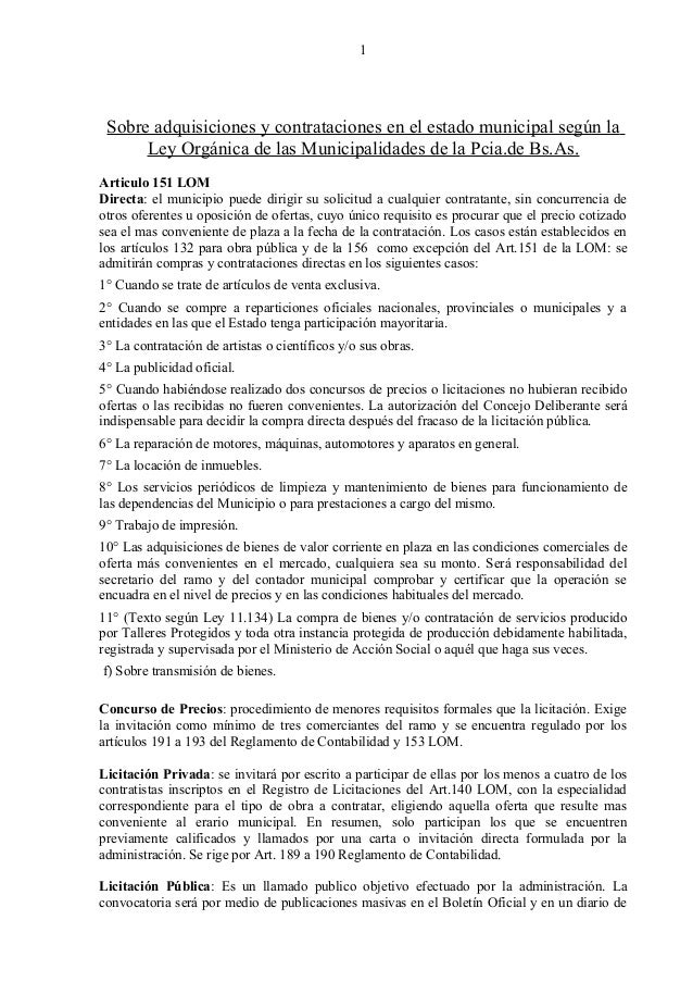 1  Sobre adquisiciones y contrataciones en el estado municipal según la Ley Orgánica de las Municipalidades de la Pcia.de ...
