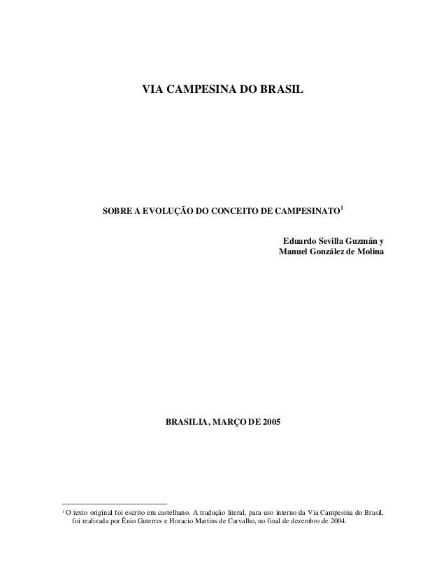 VIA CAMPESINA DO BRASIL                SOBRE A EVOLUÇÃO DO CONCEITO DE CAMPESINATO1                                       ...