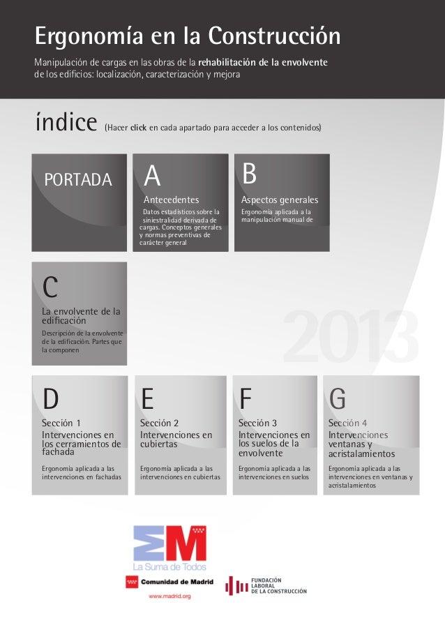 índice (Hacer click en cada apartado para acceder a los contenidos) PORTADA B Aspectos generales Ergonomía aplicada a la m...
