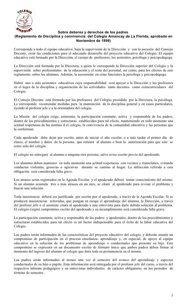 Sobre deberes y derechos de los padres(Reglamento de Disciplina y convivencia del Colegio Amancay de La Florida, aprobado ...