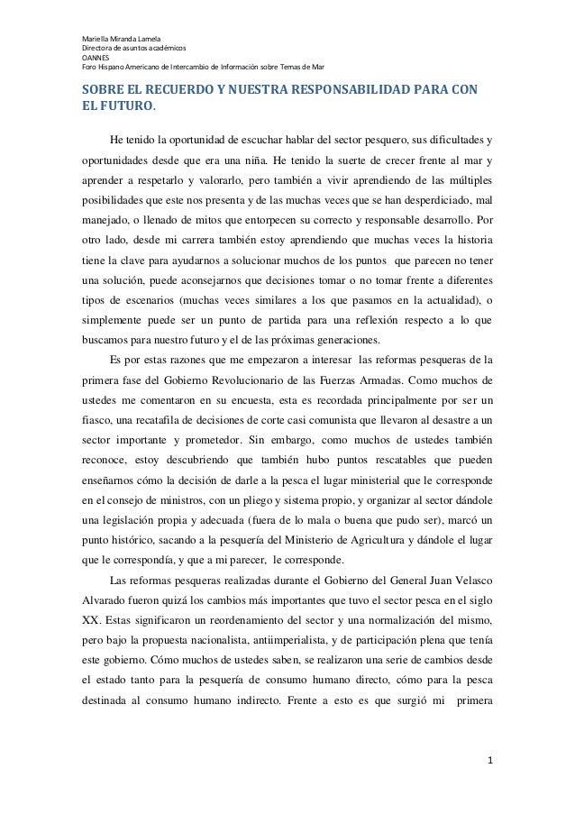 Mariella Miranda Lamela Directora de asuntos académicos OANNES Foro Hispano Americano de Intercambio de Información sobre ...