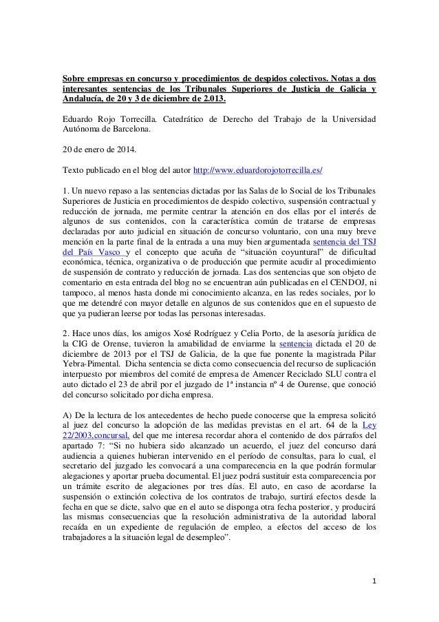 Sobre empresas en concurso y procedimientos de despidos colectivos. Notas a dos interesantes sentencias de los Tribunales Superiores de Justicia de Galicia y Andalucía, de 20 y 3 de diciembre de 2.013.