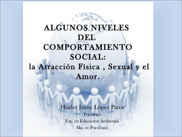 ALGUNOS NIVELES DEL COMPORTAMIENTO SOCIAL: la Atracción Física , Sexual y el Amor. Hiader Jaime López Parra Psicólogo Esp....