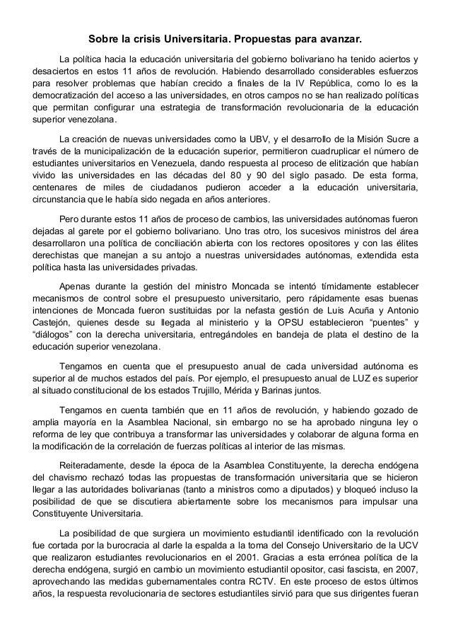 Sobre la crisis Universitaria. Propuestas para avanzar. La política hacia la educación universitaria del gobierno bolivari...