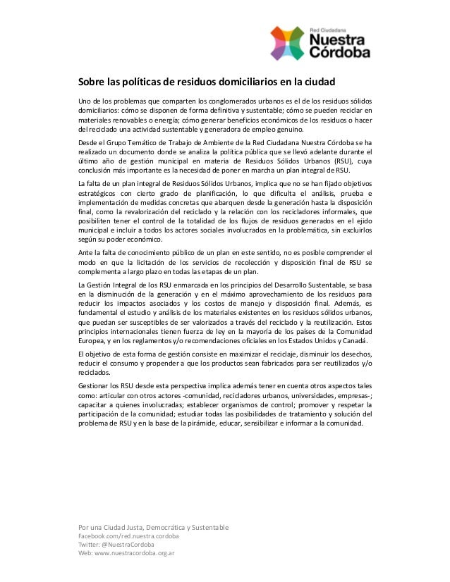 PorunaCiudadJusta,DemocráticaySustentable Facebook.com/red.nuestra.cordoba Twitter:@NuestraCordoba Web:www.nues...