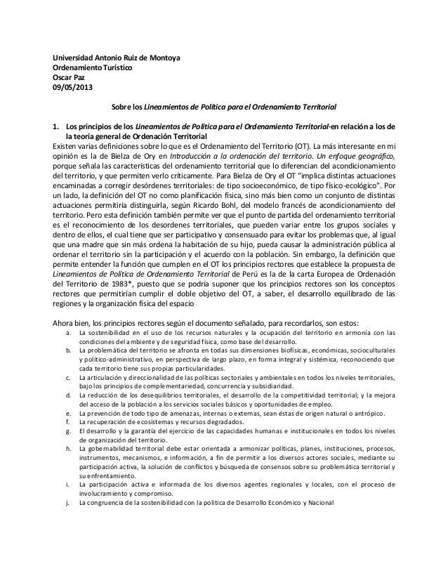 Sobre los Lineamientos de Política para el Ordenamiento Territorial. Paz, Oscar. 2013-05-09