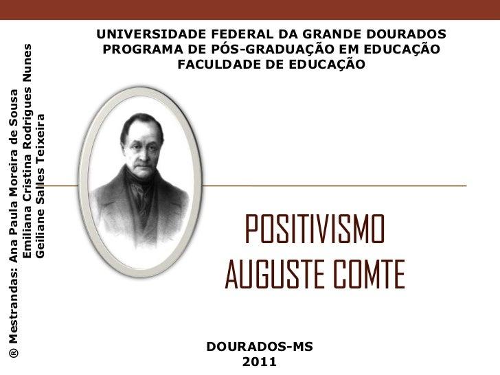 UNIVERSIDADE FEDERAL DA GRANDE DOURADOS<br />PROGRAMA DE PÓS-GRADUAÇÃO EM EDUCAÇÃO<br />FACULDADE DE EDUCAÇÃO<br />Positiv...