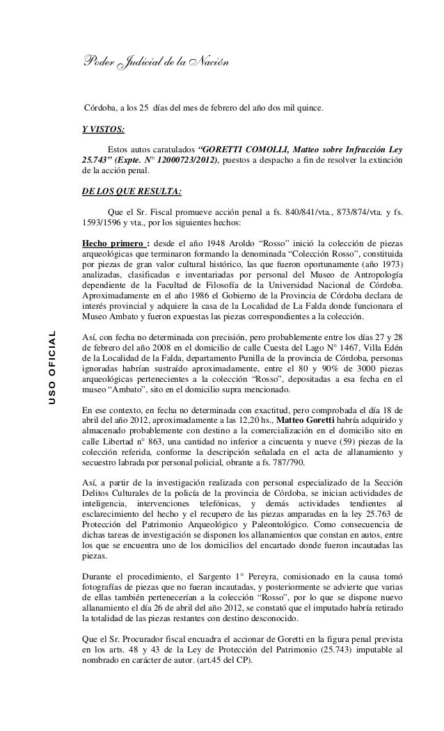Poder Judicial de la Nación USOOFICIAL Córdoba, a los 25 días del mes de febrero del año dos mil quince. Y VISTOS: Estos a...