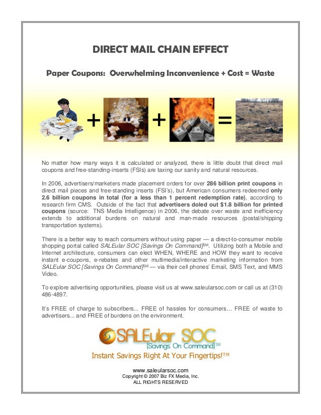 """""""Direct Mail Chain Effect"""" one-sheet ad slick for SALEular SOC [Savings On Command]"""