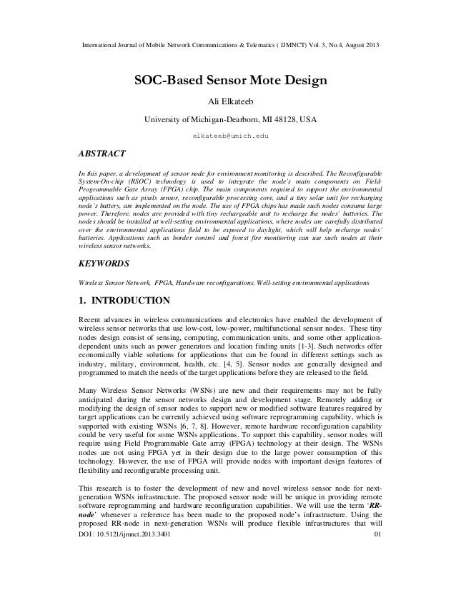 SOC-Based Sensor Mote Design