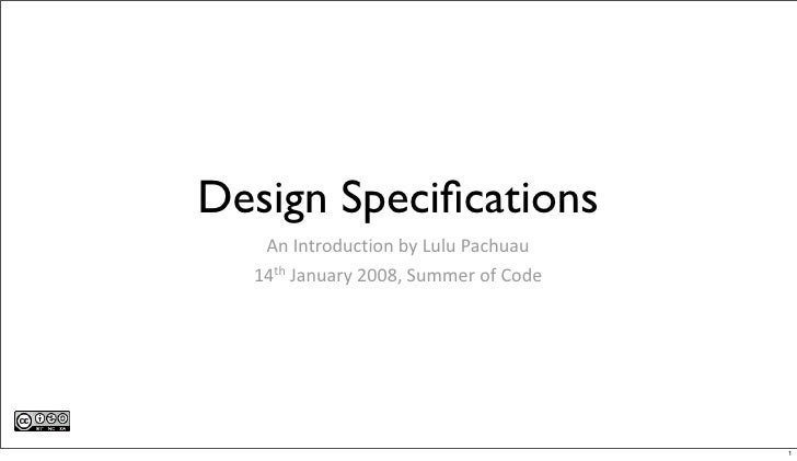 Design Specifications    An