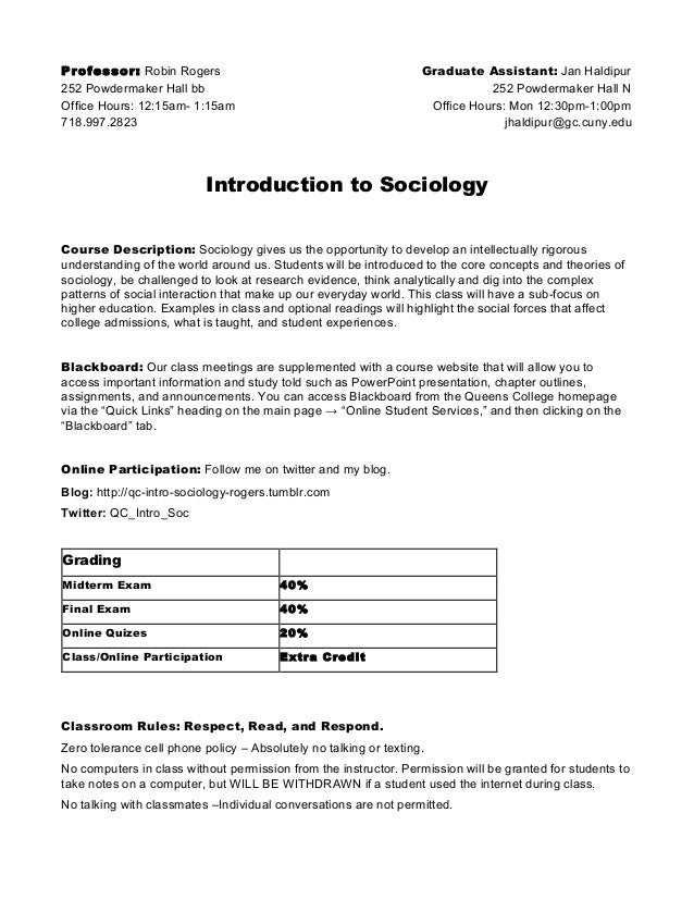 Soc 101 syllabus introductionto sociology queens college fall2012