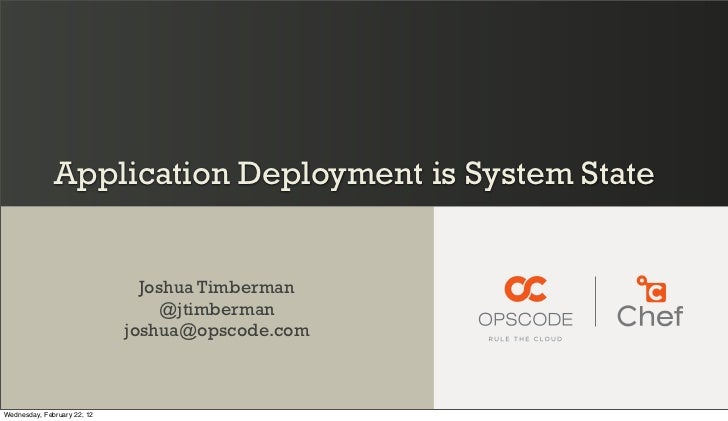 Application Deployment is System State                               Joshua Timberman                                  @jt...