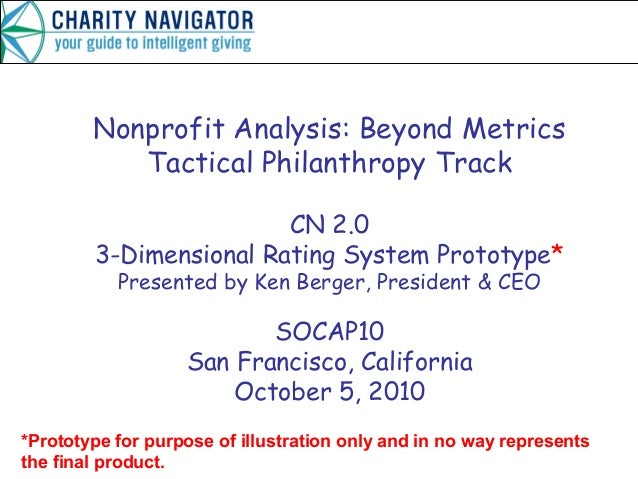 Nonprofit Analysis: Beyond Metrics Tactical Philanthropy Track CN 2.0 3-Dimensional Rating System Prototype* Presented by ...