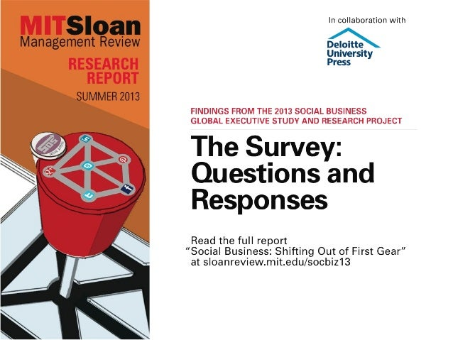 Social Business: Shifting Out of First Gear — The Survey Questions and Responses