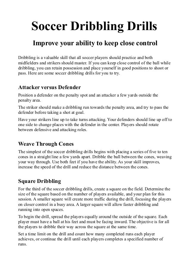 Drills And Skills For Soccer Soccer Dribbling Drills