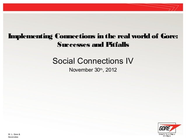 Implementing Connections in the real world of Gore:              Successes and Pitfalls               Social Connections I...