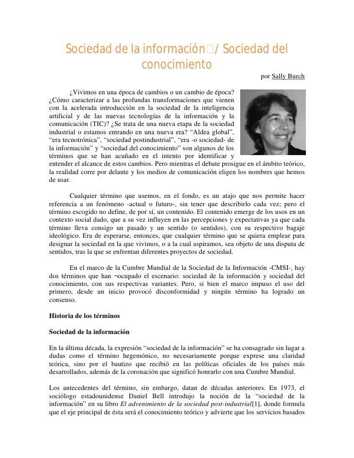 Sally Burch. Sociedad de la Información / Sociedad del Conocimiento