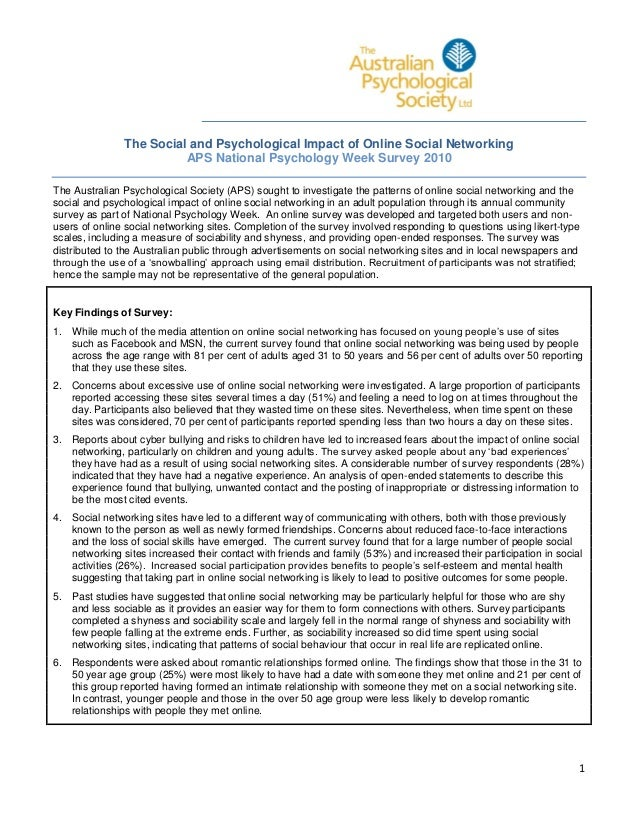 The Social and Psychological Impact of Online Social Networking APS National Psychology Week Survey 2010 The Australian Ps...