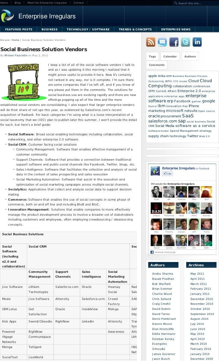 Social Business Solution Vendors