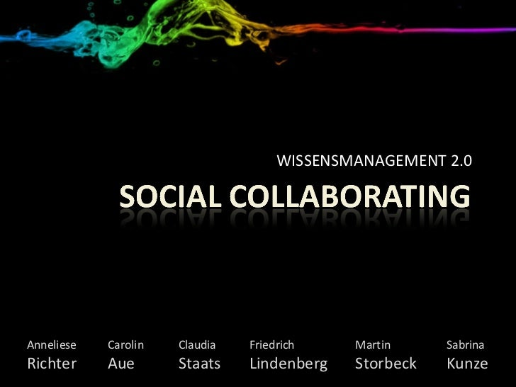 WISSENSMANAGEMENT 2.0 Anneliese Carolin Claudia Friedrich  Martin Sabrina Richter Aue Staats Lindenberg Storbeck Kunze