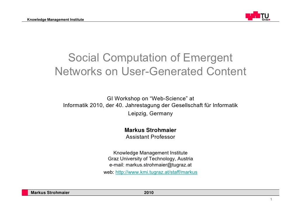 Social computation of emergent networks on user generated content