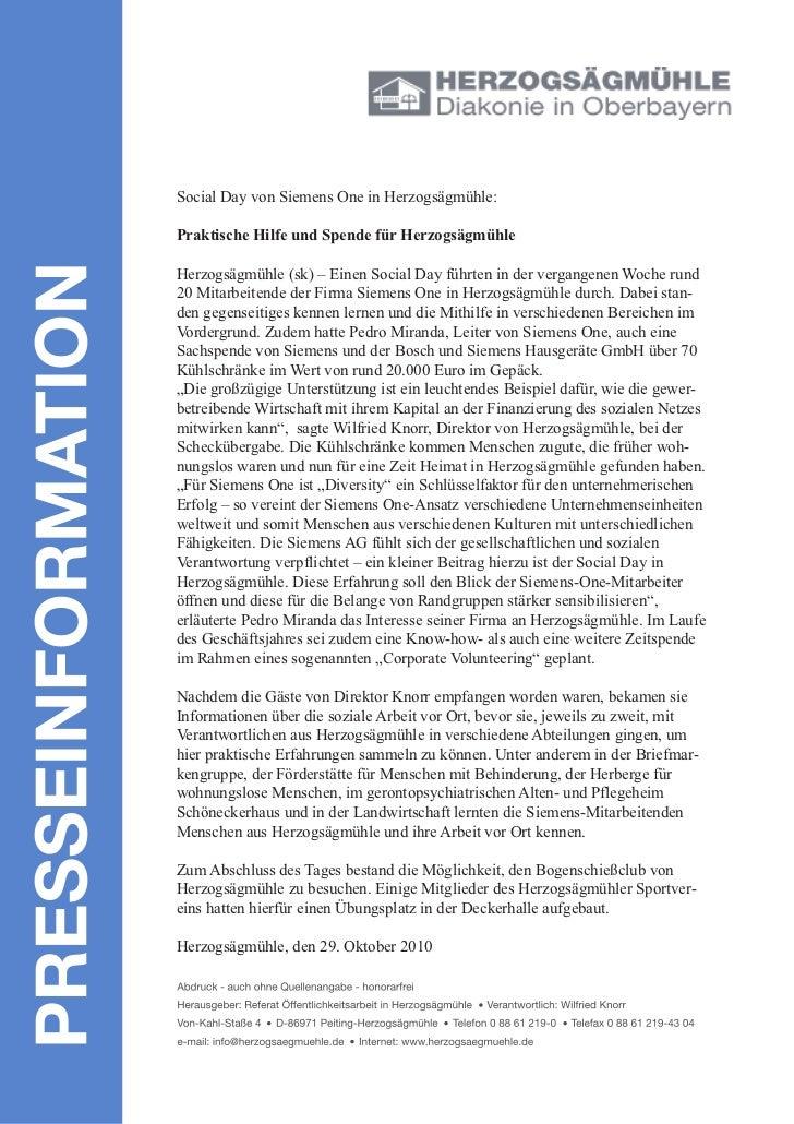 Social Day von Siemens One in Herzogsägmühle:Praktische Hilfe und Spende für HerzogsägmühleHerzogsägmühle (sk) – Einen Soc...