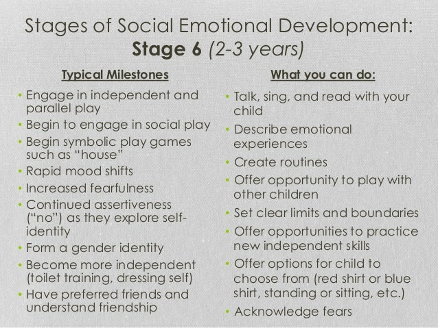 emotional development of a child 0 1 years Social and emotional milestones are often harder to pinpoint than signs of physical development this area emphasizes many skills that increase self-awareness and self-regulation the whole child abcs of child development for parents for early care providers.
