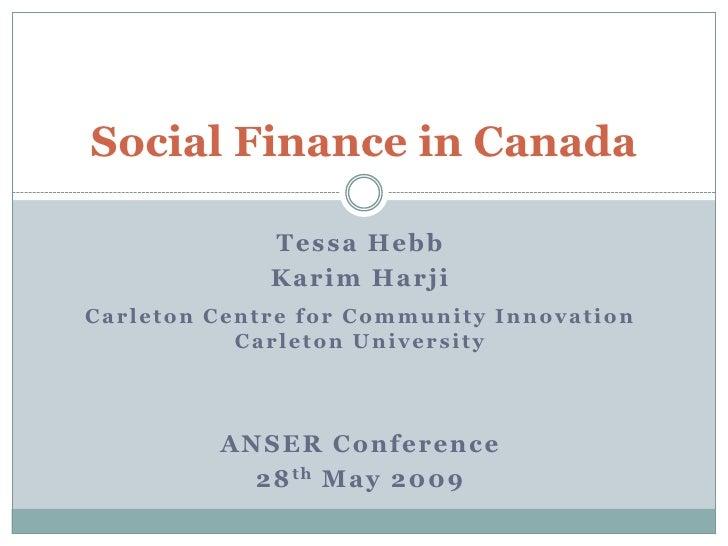 Social Finance in Canada